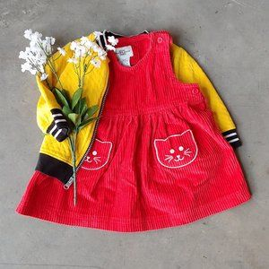 Vintage Field Gear Baby Red Corduroy Cat Dress 12M